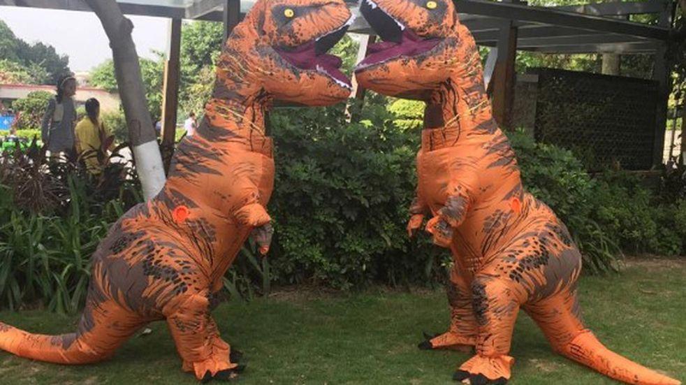 Una pareja tuvo un desopilante casamiento cuando fueron al registro civil vestidos de dinosaurios
