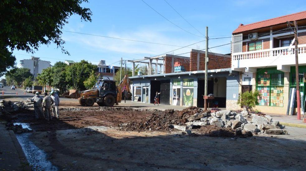 La avenida Maipú de la ciudad de Posadas se halla en obras