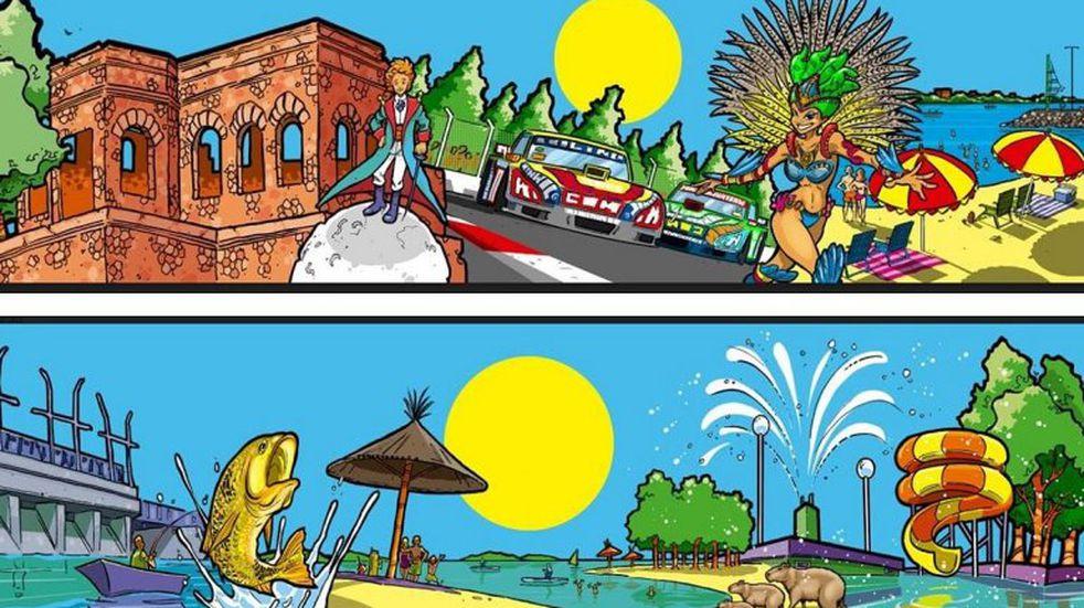 Reconocido caricaturista concordiense creó ilustraciones de los lugares más emblemáticos de la ciudad