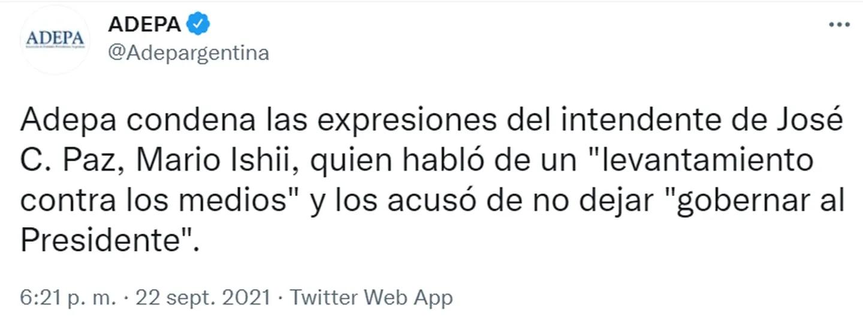 El tuit de Adepa condenando las declaraciones de Mario Ishii.