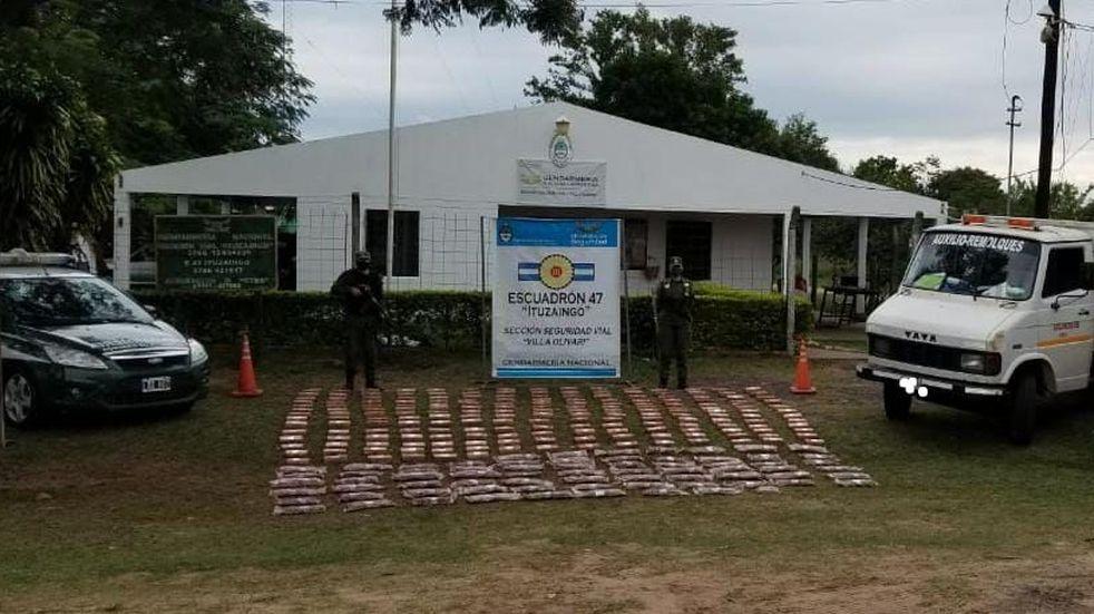 Gendarmería Nacional incautó droga en Corrientes que habría salido desde Jardín América