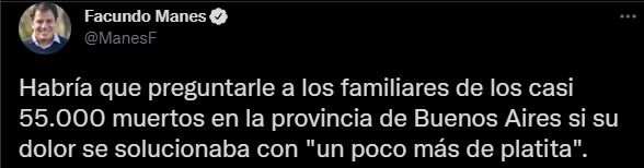 Facundo Manes repudió los dichos de Gollan en su cuenta de Twitter