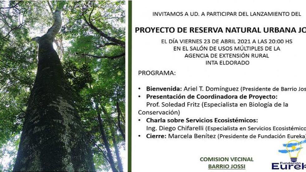 """Lanzan el """"Proyecto de la Reserva Natural Urbana Jossi"""" en Eldorado"""