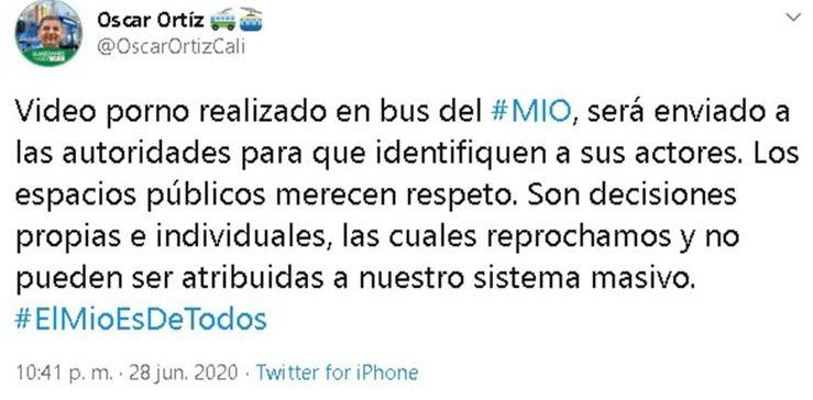 En un tuit del presidente Metrocali (la empresa responsable del sistema MIO), la compañía condenó lo sucedido.