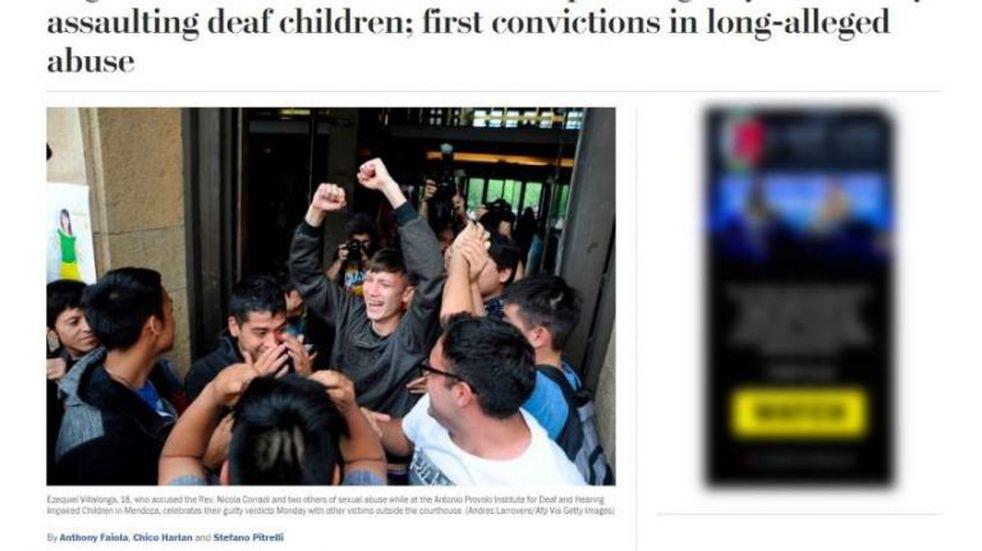 La condena a los curas del Próvolo fue título de tapa en medios internacionales