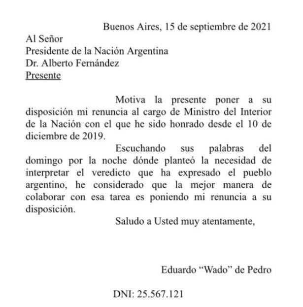 La carta de renuncia de Wado de Pedro.