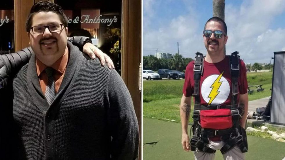 Bajó 42 kilos para cumplir su sueño: poder tirarse en paracaídas