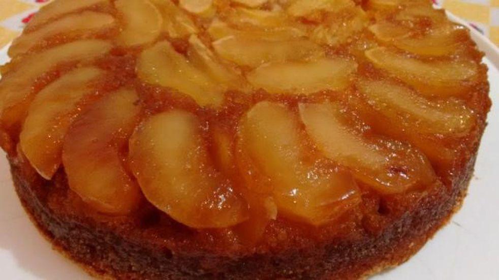 Receta para hacer torta invertida de manzanas