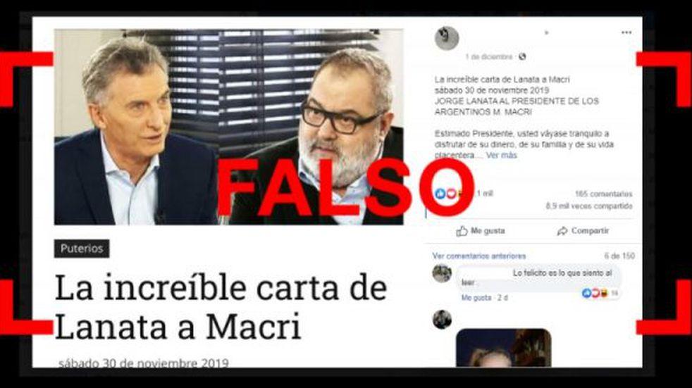Es falsa la carta de Lanata a Macri que se viralizó en redes sociales