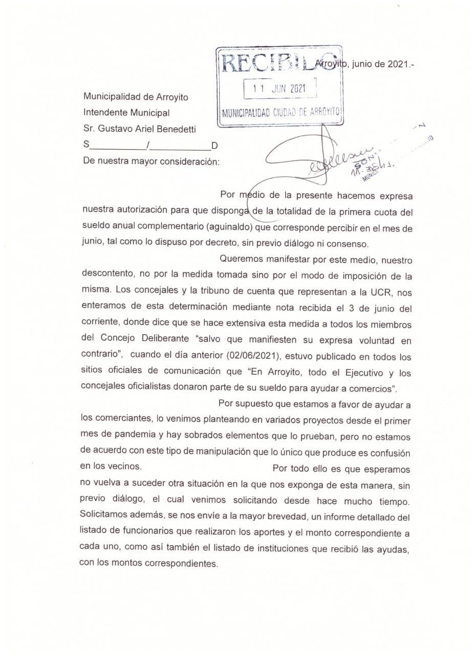 Carta presentada por Bloque UCR al intendente de Arroyito