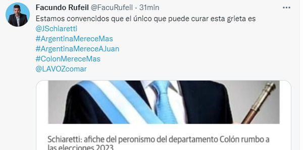 Facundo Rufeil, intendente de La Calera, impulsa la candidatura presidencial de Juan Schiaretti.