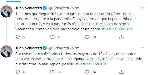 En dos tweets, Juan Schiaretti invitó a los mayores de 18 a que se vacunen.
