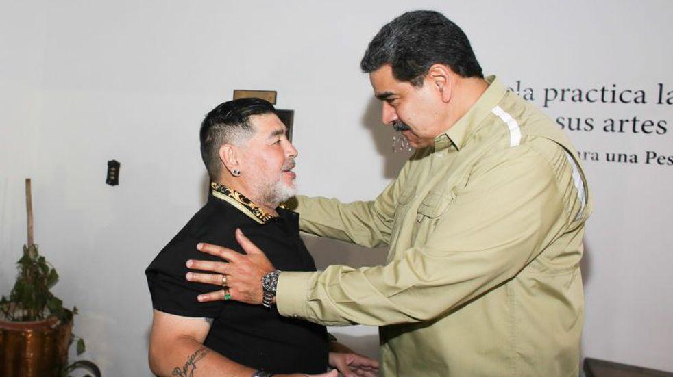 """Diego Maradona visitó al presidente venezolano Nicolás Maduro: """"Aquí se respira lucha y revolución"""""""