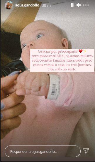 Agustina Gandolfo y Lautaro Martínez debieron internar a su hija tras un accidente en Mendoza.
