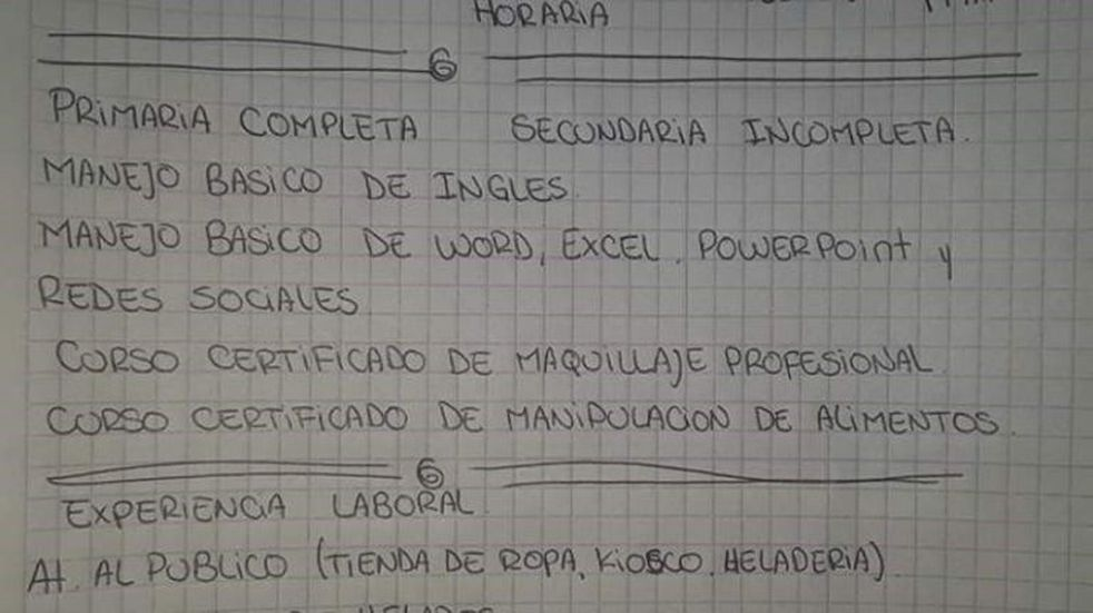 Conmovedor: una joven madre sanjuanina escribió su currículum a mano