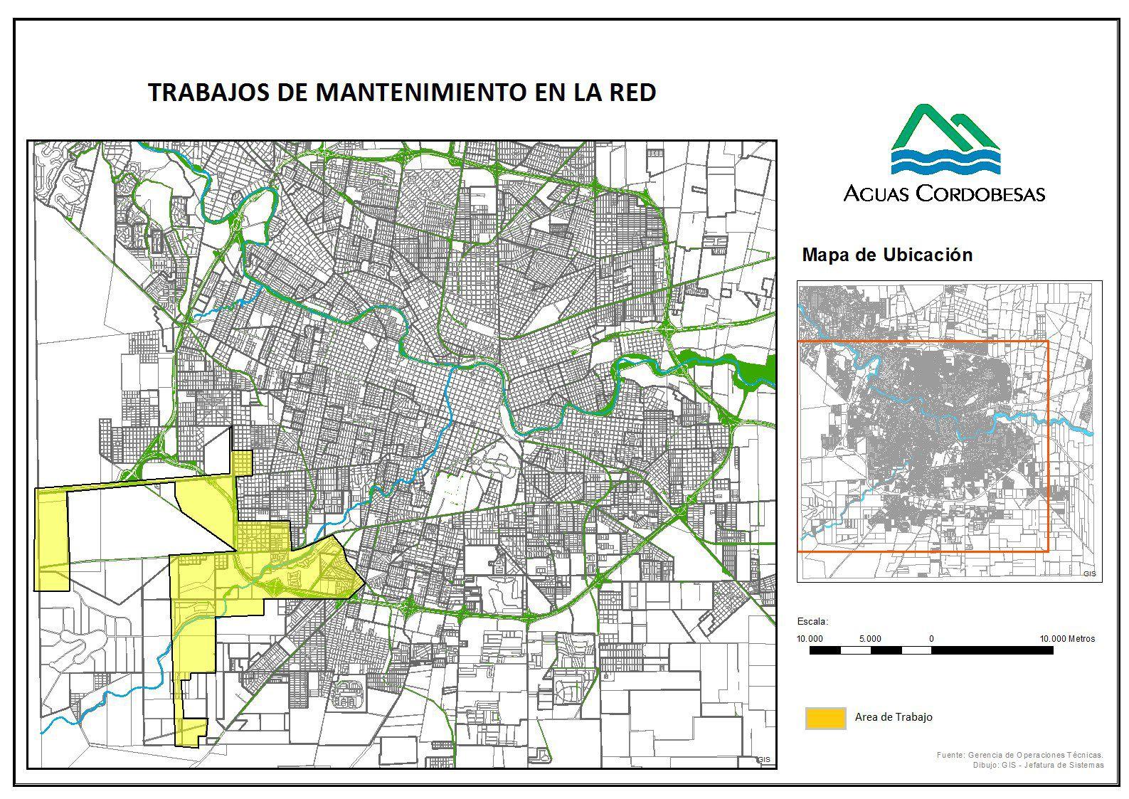 Barrios de la zona suroeste de Córdoba se verían afectados en el suministro durante el jueves.