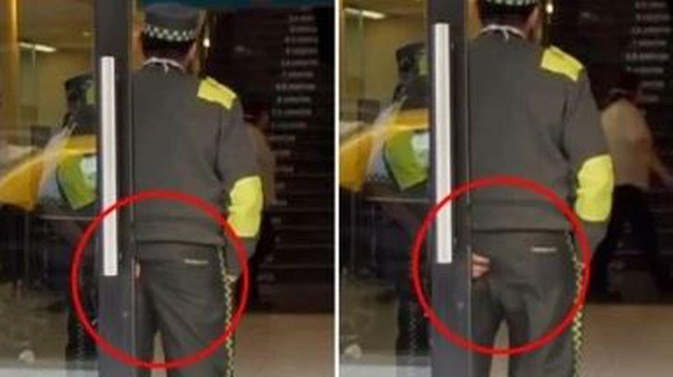 """¡Infraganti! La """"rascada"""" de un guardia de seguridad en vivo"""