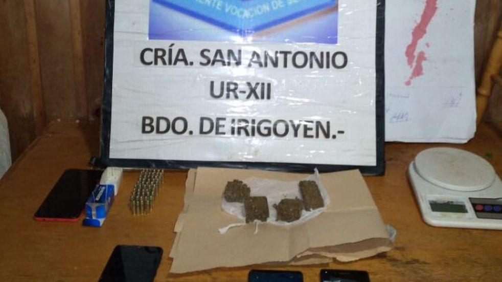 San Antonio: incautan proyectiles de arma de fuego y marihuana en un allanamiento