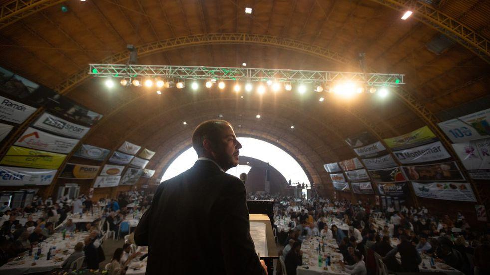 Andrés Vavrik en el discurso del almuerzo de la Fiesta de la Ganadería.