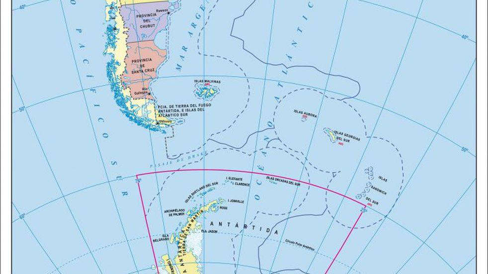Mapa completo bicontinental de Argentina.