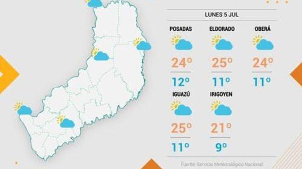 Buen tiempo para el comienzo de semana en Misiones con temperatura máxima de 26°C