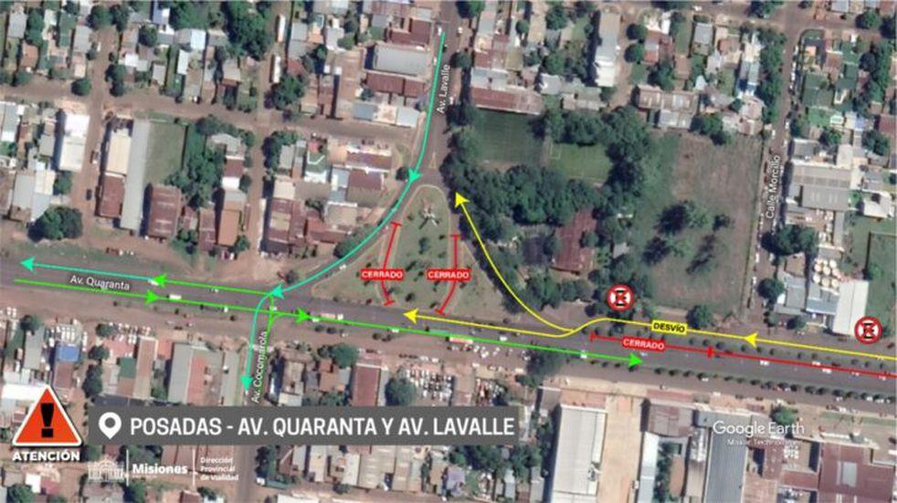 Se hallará restringido el tránsito en la intersección de Av. Quaranta y Lavalle en Posadas