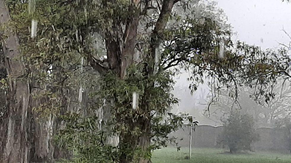 Lluvia y un leve granizo sobre la ciudad de Pérez (CIMECO)