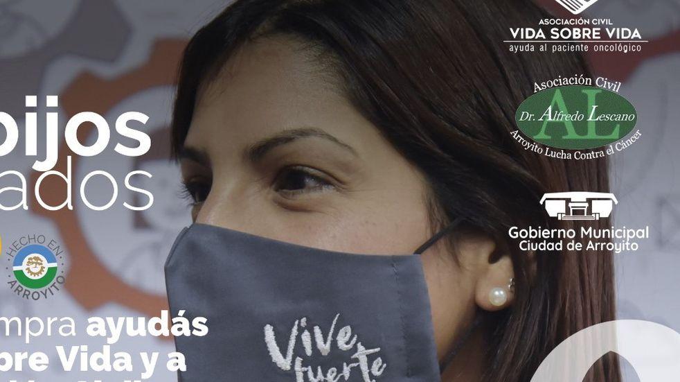 """""""Vive Fuerte"""" la Campaña para venta de barbijos de instituciones de Arroyito que luchan contra el cáncer"""
