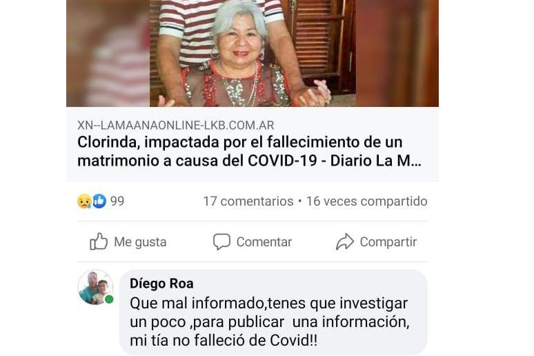 El sobrino publicó en las redes sociales que su tía no tenía coronavirus