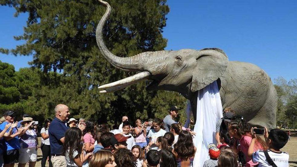 Ya está en Pehuen Co  la réplica de Mastodonte