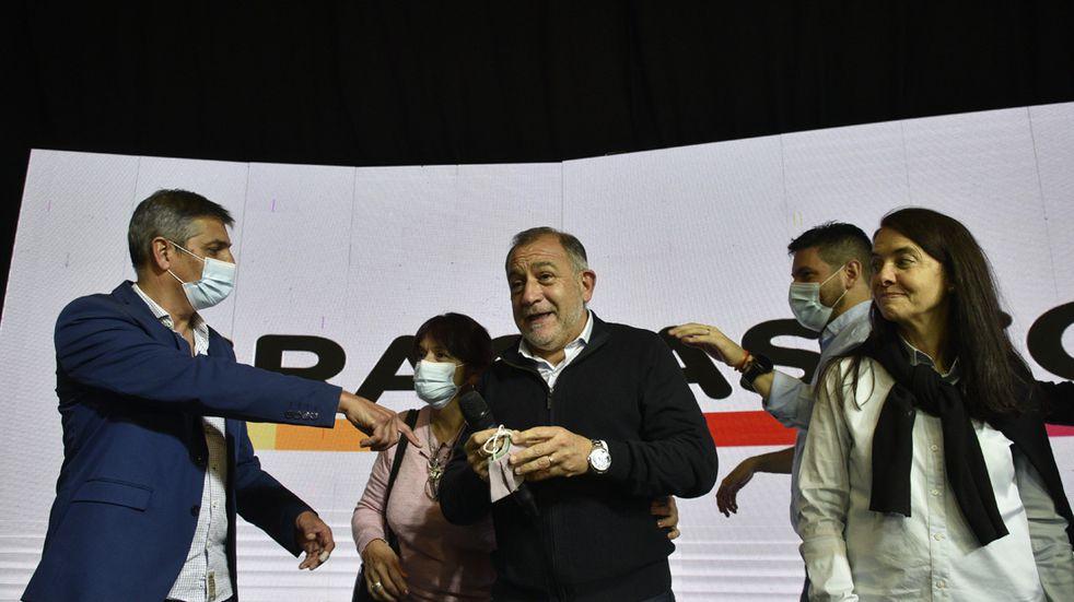Luis Juez y Rodrigo del Loredo en el bunker de Juntos por Cordoba