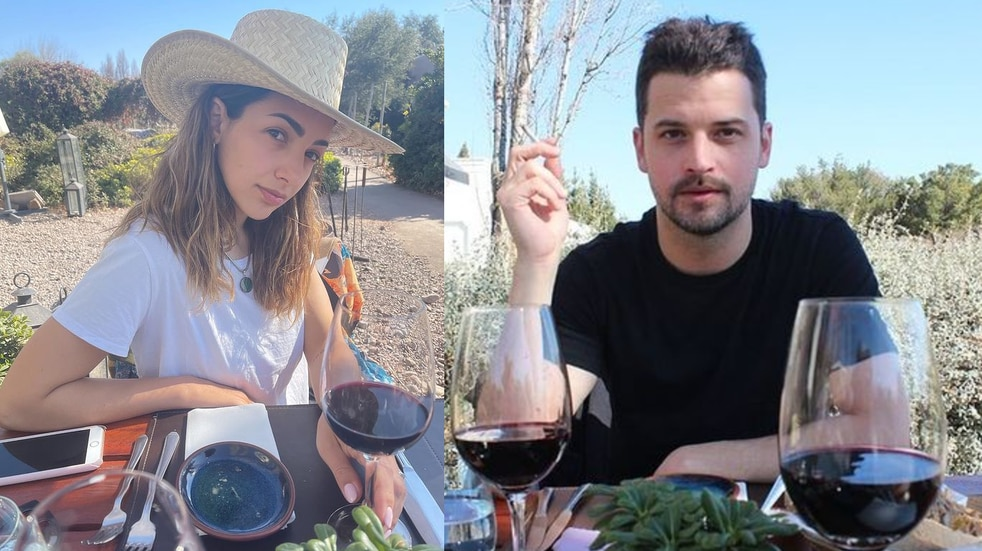 Thelma Fardín y Camilo Vaca Narvaja en Mendoza. (Instagram)