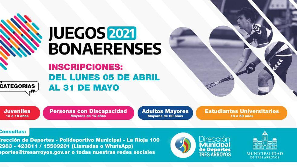 Abierta las inscripciones para los Juegos Bonaerenses 2021