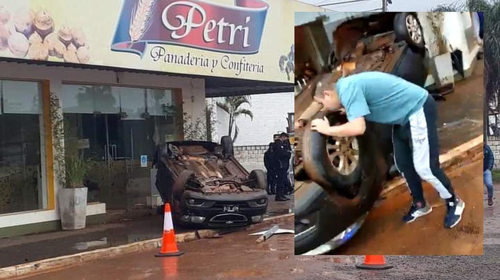Vehículo despistó y casi ingresa a una panadería en Garupá