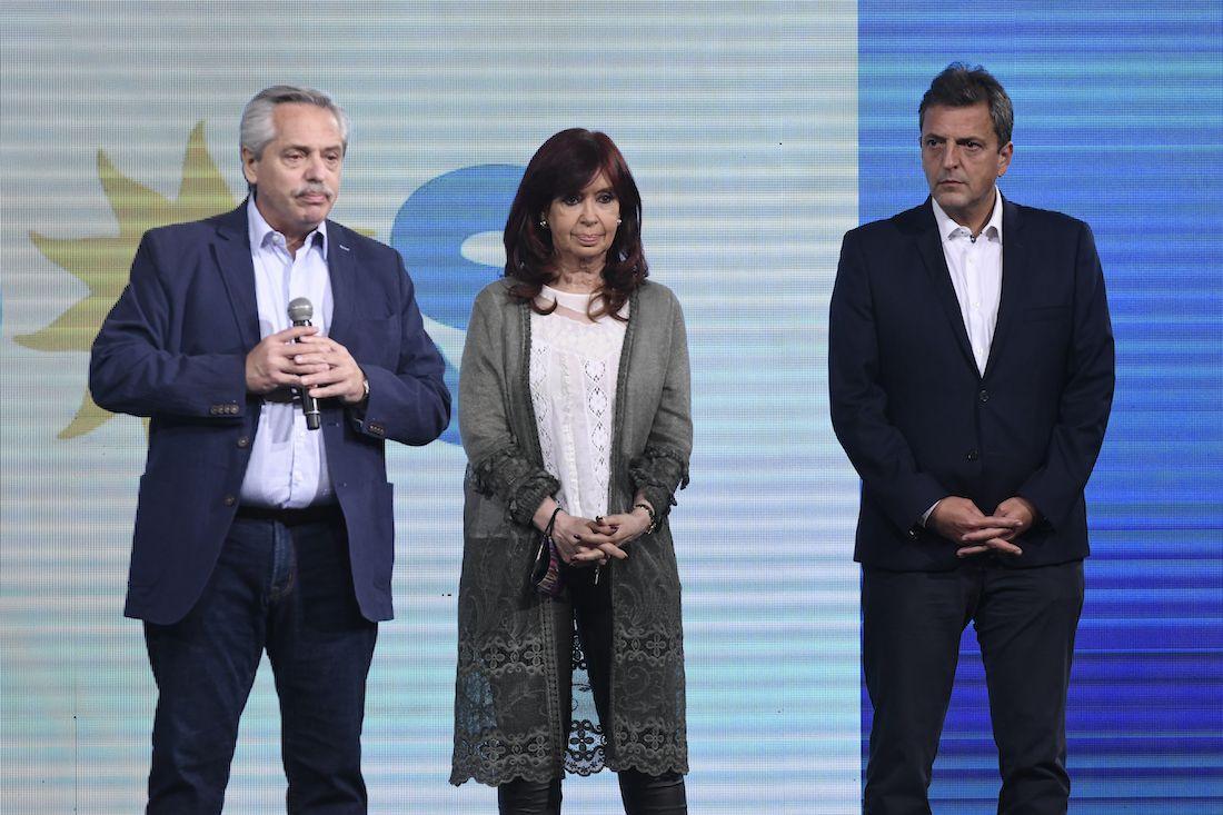 Cristina Fernández de Kirchner y Alberto Fernández tras la derrota del Frente de Todos en las elecciones PASO 2021.