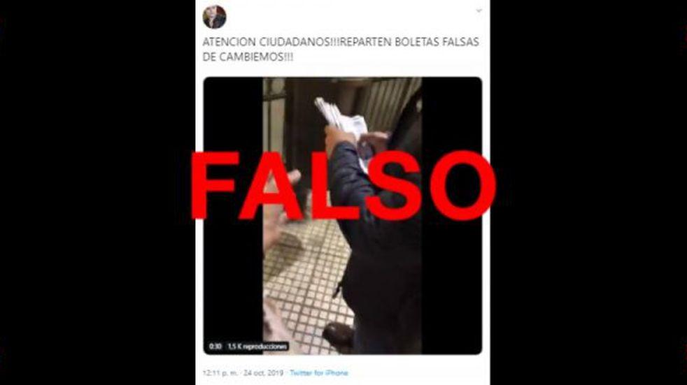 Es falso que en este video se estén repartiendo boletas apócrifas de Juntos por el Cambio