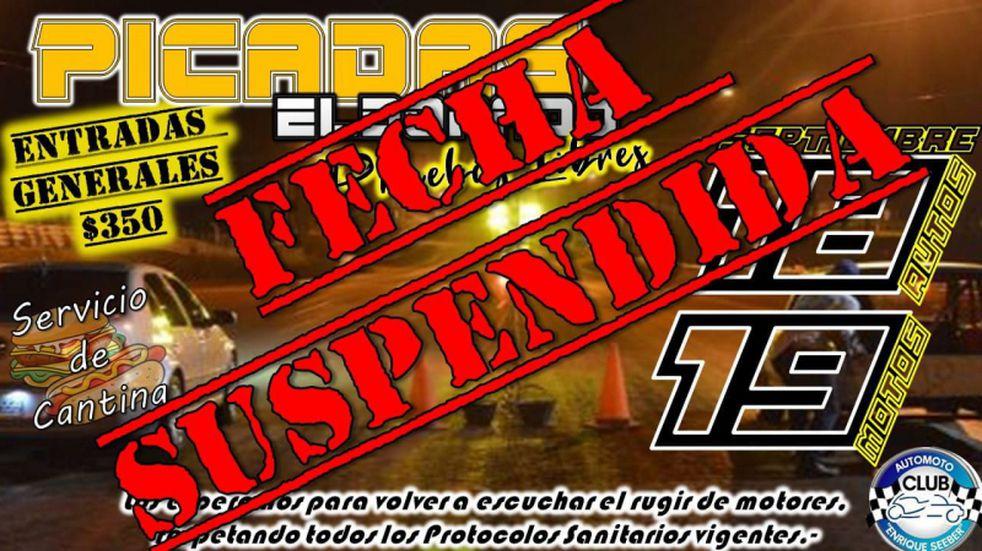 Finalmente, suspendieron las picadas en el Autódromo de Eldorado.