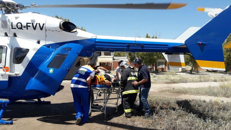 Accidente en San Carlos deja con heridas graves a un hombre quien es trasladado en helicóptero