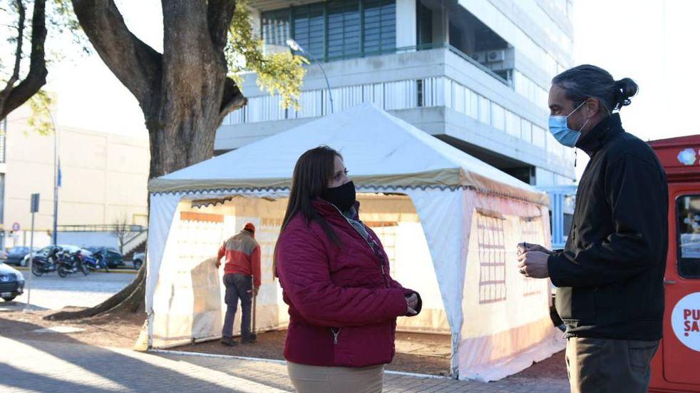 Instalan una carpa en la plaza para testear a asintomáticos