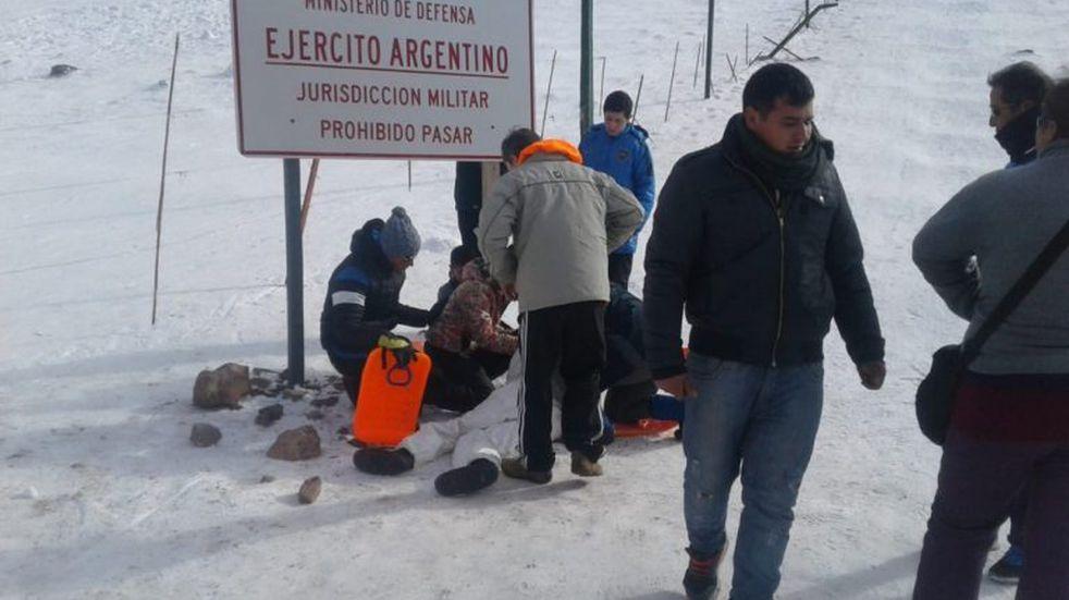 Una mujer se accidentó en Puente del Inca