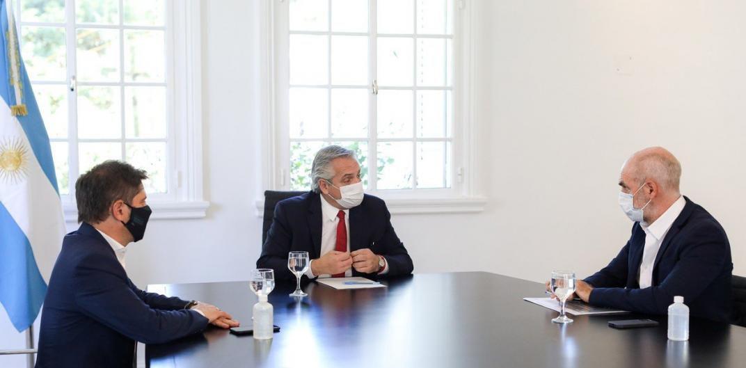 Encuentro. Alberto Fernández reunido con Larreta y Kicillof. (Presidencia)